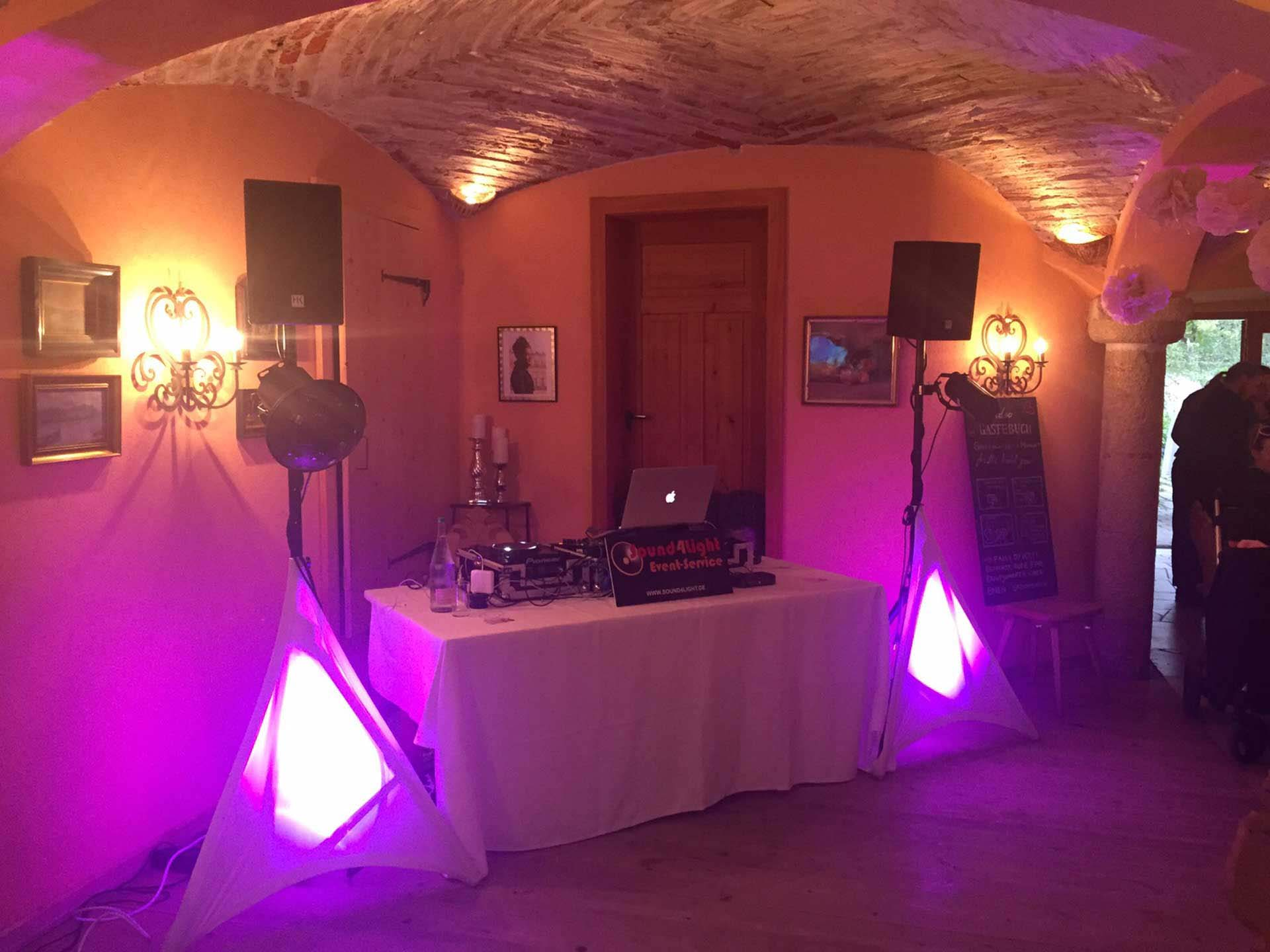 Aufbau Technik Hochzeitsfeier