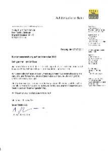 S o la r · fabr~ k AG M u n zr n g e r Str 1 0 7 9111 F r erbu r g , D e ut s c h land Sound4Light Event Service H err Patrick Schlösser Maria-Montessori-Str. 43 81829 München Auf der sicheren Seite Freiburg, den 07.07.2011 Kundenveranstaltung auf der Intersolar 2011 Sehr geehrter Herr Schlösser, vielen herzlichen Dank für Ihre Unterstü tzung während unserer Kundenveranstal- t ung am 09.06.2011 im Rahmen der Mes se I nterso lar in München. Wir waren seh r zufrieden mit der Um setzu ng unserer Musikwünsche sowie mit der Licht - und T ontech nik. Unser e Gäste haben s i c h bei un s sehr wohlgefühlt un d die St immu ng war super . D ie Abstimm ung zwischen unse re m Mess e bauer und Ihn e n war perfekt und in- ne r halb kürzester Ze it wurde im lau fenden Betr ie b aus u nsere m Mes s estand ein Bereich d e r z um Feiern eingeladen hat . Wir freuen un s auf we itere Zusamme narb eit. Mit freundlichen G rüßen Solar-Fabrik AG i. A. Angela G lüc k ler so I a r Solar-Fab ri k Aktrengesells c haft f ü r P roduktren u nd Ver tr ieb von s o la rtec hni schen Produkten Munzinger Str . 10 7 9 11 1 F re r burg Deutsc hla nd Te l efon+ 4 9 ( 0)76 1 4000 - 0 Te l efa x +4 9 ( 0)76 1 4000- 1 9 9 mfo @s o l ar -fa br r k . de www so l a r- fa brrk . de A uf s i c ht sratsv orsitzender N or bert B m de r Vo r sta nd Gunter W ernb e rge r ( V or s ta n d svorsr t z ender ) Martrn F rr edrrch Dr F r eddy Goh Mart r n S c hlenk S rtz : F r e i b u r g r Br . Amt sge rr c h t Fr e rbu rg HRB6 7 1 7 Ste u e r-N r. 064 5 7 / 40 ;1 03 Ze rtrfr zr e rt d ur c h d en VD E n a c h DI N EN I SO 9001 Re g . Nr 5 0 02983/ QM / 1 1.2 0 03 DI N E N ISO 140 0 1 Reg . Nr . 5002983/ UM/1 1. 200 3