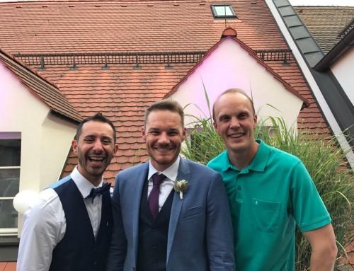 Eine Hochzeitsfeier über den Dächern von München
